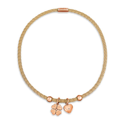 Heart4Heart Sweetheart Rose Gold Plated Μπεζ Chocker Κολιέ, , hires