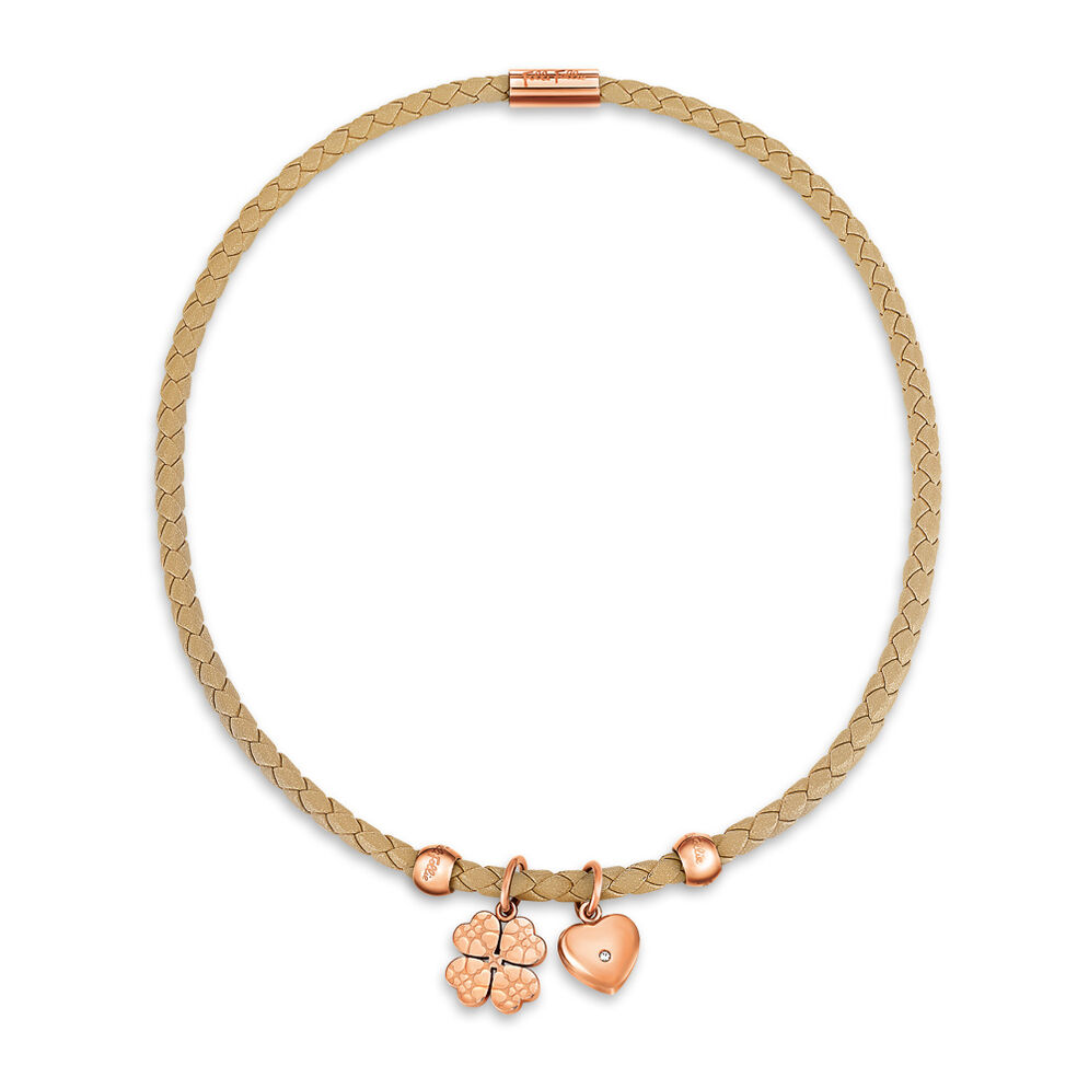 Heart4Heart Sweetheart Rose Gold Plated Beige Chocker Necklace, , hires