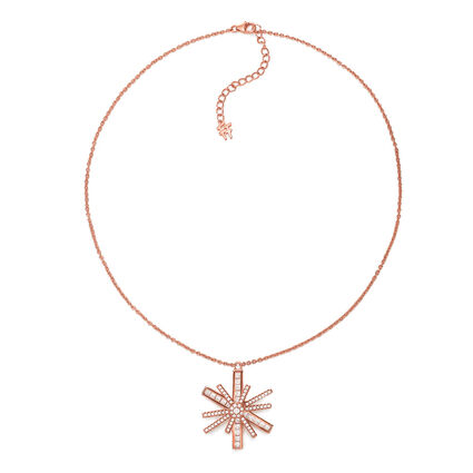 Star Flower Rose Gold Plated Large Motif Short Necklace, , hires