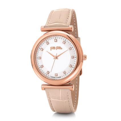 Sparkle Chic Swiss Made Μεγάλη Κάσα Δερμάτινο Ρολόι, Pink, hires