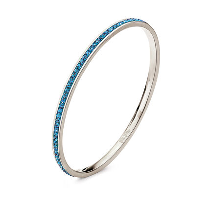 Match & Dazzle Silver Plated Blue Crystal Stone Small Diameter Slim Bangle Bracelet , , hires