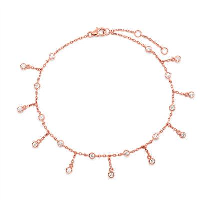 Fashionably Silver Essentials 18kt Rose Gold Vermeil Ankle Bracelet, , hires