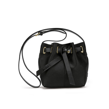 Tie The Knot Mini Adjustable Strap Bucket Shoulder Bag, Black, hires