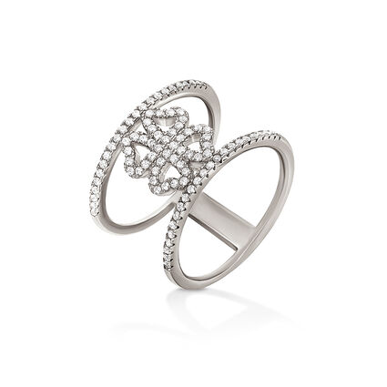Fashionably Silver Heart4Heart Rhodium Plated Δαχτυλίδι, , hires