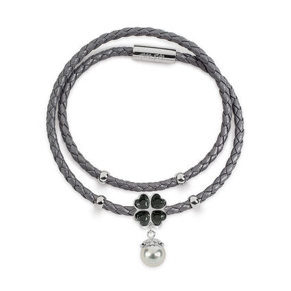 Heart4Heart Silver Plated Black Crystal Stone Gray Pearl and Double Dark Gray Row Bracelet, , hires