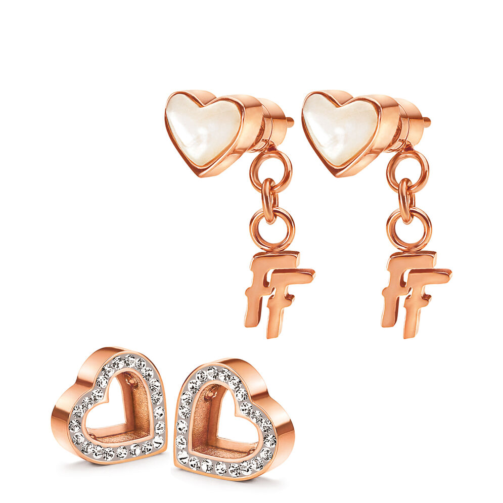 Playful Hearts Rose Gold Plated Stud Earrings , , hires