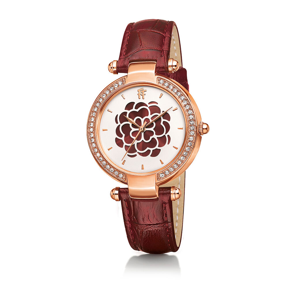 Santorini Flower Rose Gold Plated Watch, Burgundy, hires