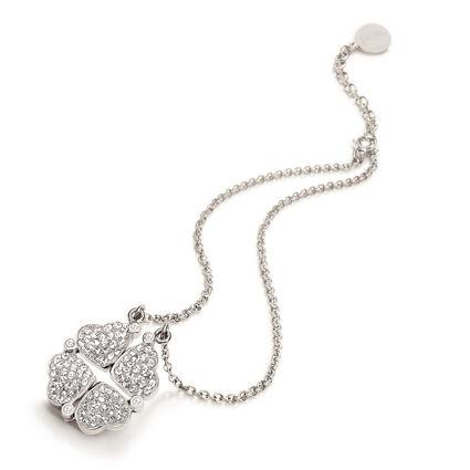Heart4Heart Silver Plated Λευκές Κρυστάλλινες Πέτρες Κοντό Κολιέ , , hires