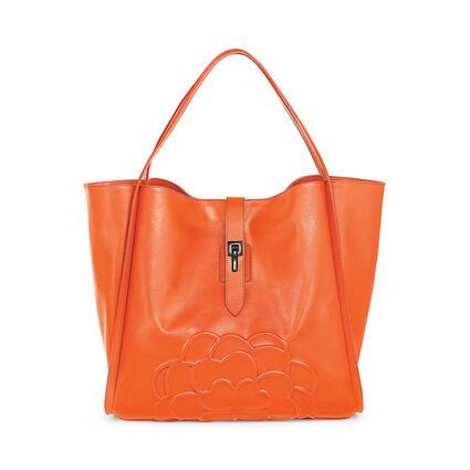 Santorini Flower Large Leather Shoulder Bag with Inner Detachable Pouch, Orange, hires