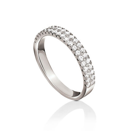 Fashionably Silver Essentials Rhodium Plated Λεπτό Σιρέ Δαχτυλίδι, , hires