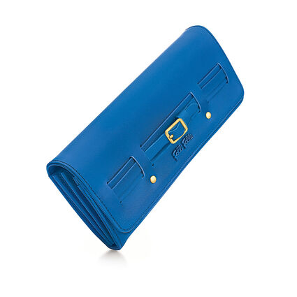Strappy Style Foldable Wallet, Blue, hires