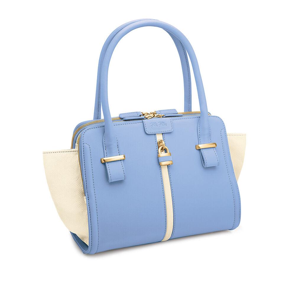 Chichi Lock Leather Handbag, Blue, hires