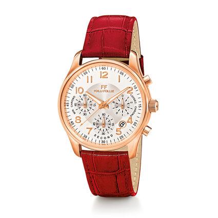Timeless Δερμάτινο Ρολόι, Red, hires