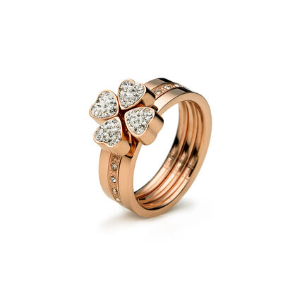 Heart4Heart Rose Gold Plated Set Ring, , hires
