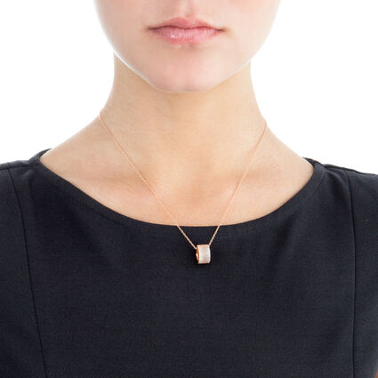 Fashionably Silver Essentials Rose Gold Plated Κοντό Κολιέ, , hires