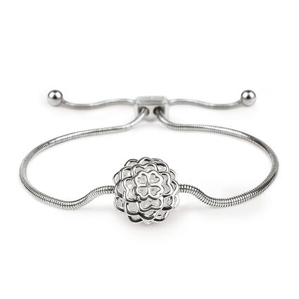 Santorini Flower Silver Plated Clear Crystal Stone Snake Chain Adjustable Bracelet, , hires