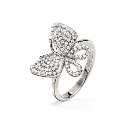 Wonderfly Rhodium Plated Chevalier Ring, , hires