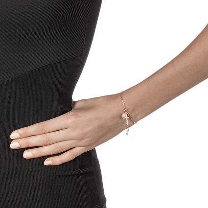Charm Mates Rose Gold Plated Adjustable Bracelet, , hires
