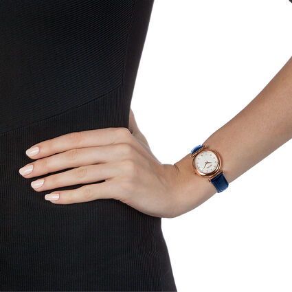 Sparkle Chic Small Case Leather Watch, Dark Blue, hires