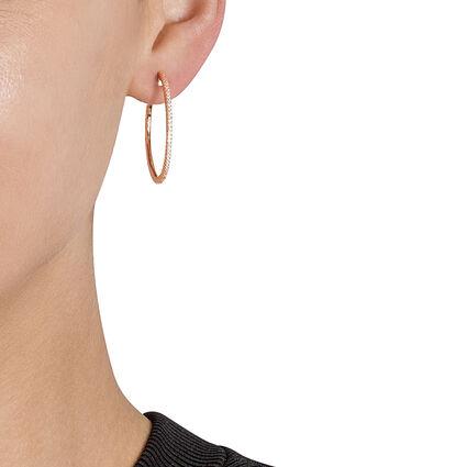 Fashionably Silver Essentials 18kt Rose Gold Vermeil Medium Hoop Earrings, , hires