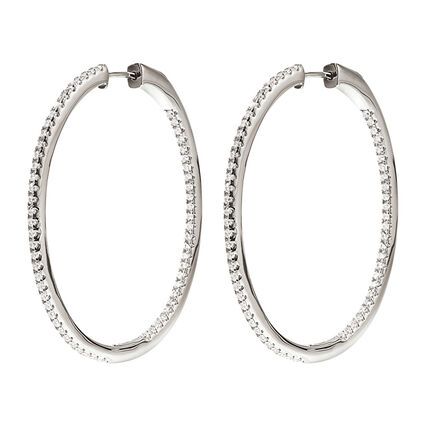 Fashionably Silver Essentials Rhodium Plated Large Hoop Earrings, , hires