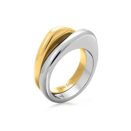 Metal Chic Silver And Yellow Gold Plated Double Ring, , hires