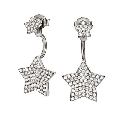 Fashionably Silver Stories Rhodium Plated Stone Earrings, , hires