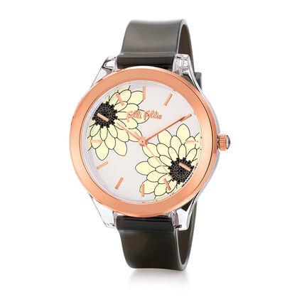 Fleur Riviera Medium Case Plastic Watch , Black, hires