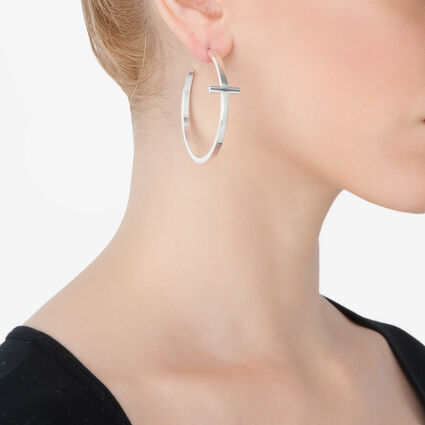 Carma Silver Plated Hoop Earrings, , hires