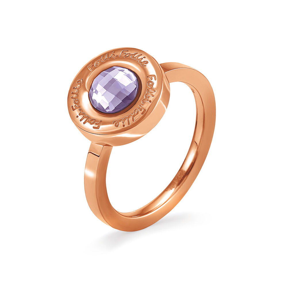 Logomania Rose Gold Plated Purple Crystal Stone Ring, , hires