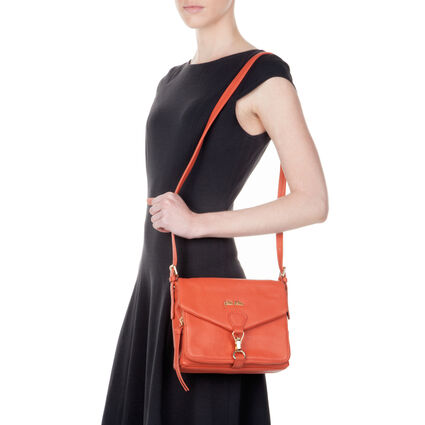 Inspire Leather Crossbody Bag, Orange, hires