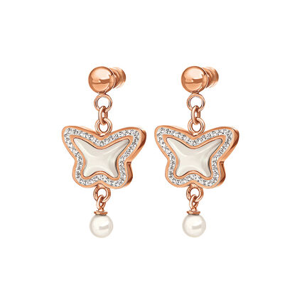 Butterfly Flair Rose Gold Plated Mother Of Pearl Earrings, , hires