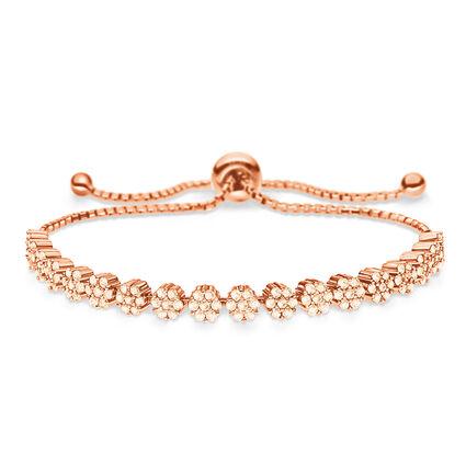 Fashionably Silver Stories Rose Gold Plated Adjustable Bracelet, , hires