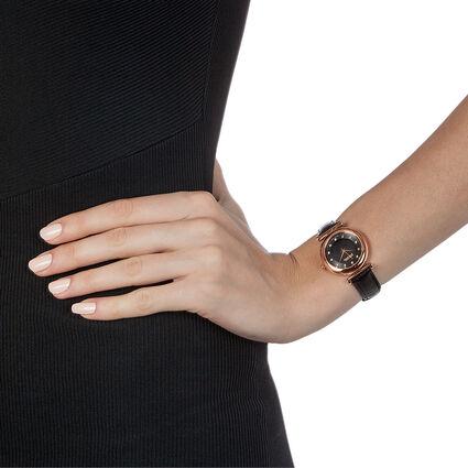 Sparkle Chic Swiss Made Μικρή Κάσα Δερμάτινο Ρολόι, Black, hires