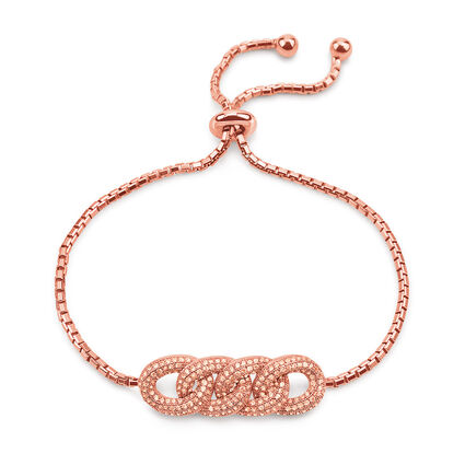 Fashionably Silver Temptation Rose Gold Plated Adjustable Bracelet, , hires