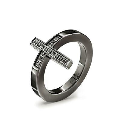 Carma Black Plated Black Crystal Stone Cross Ring, , hires
