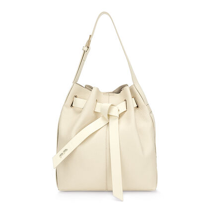 Tie The Knot Large Adjustable Strap Bucket Shoulder Bag, Beige, hires