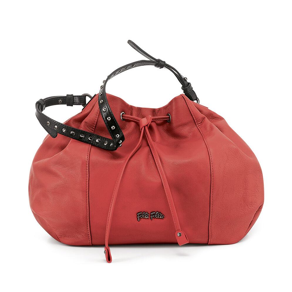 Brisk Large Leather Bucket Shoulder Bag, Orange, hires