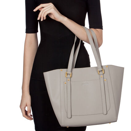 Fleur Riviera Tote Leather Shoulderbag, Gray, hires