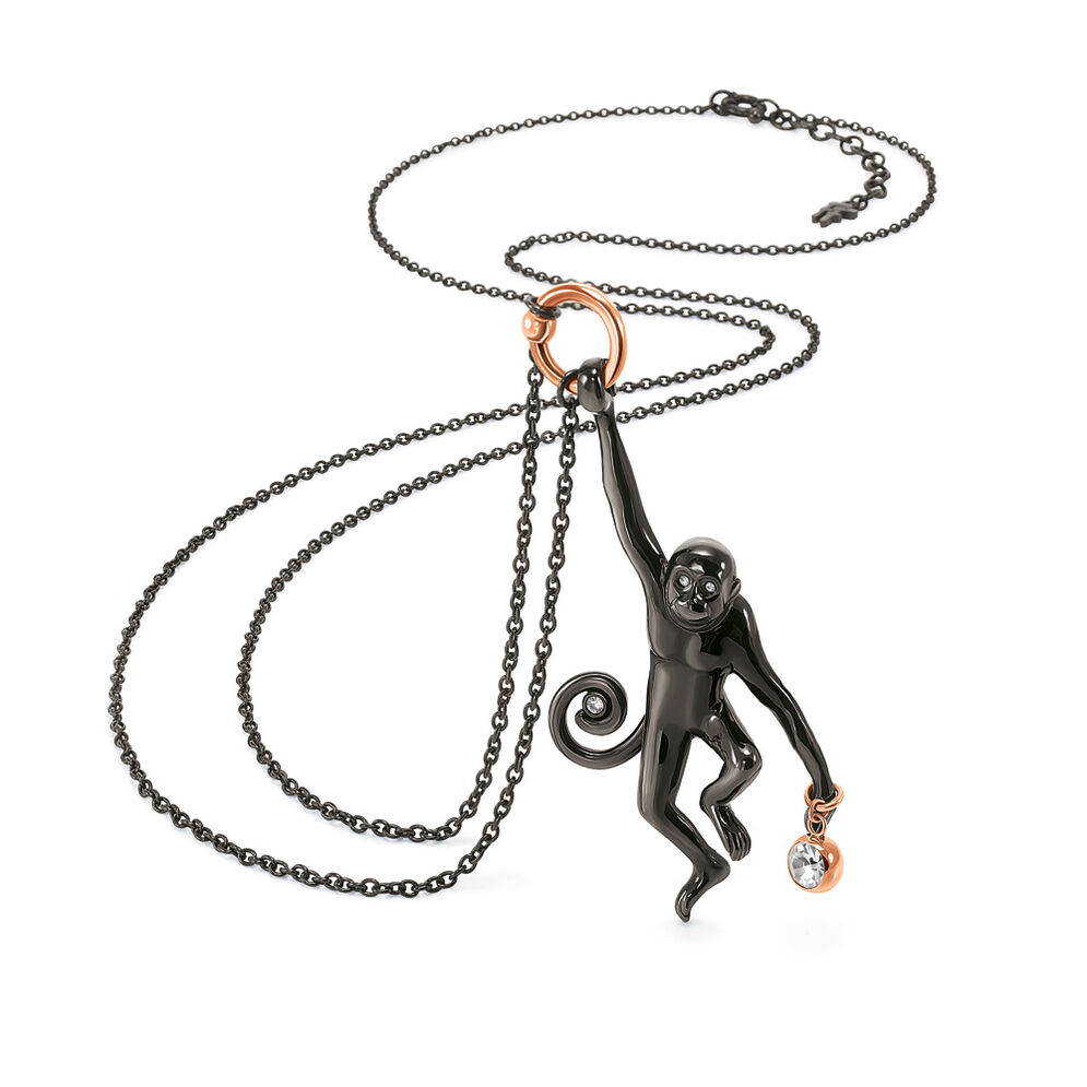 Lucky Monkey Black Plated Λευκή Κρυστάλλινη Πέτρα Μακρύ Κολιέ, , hires