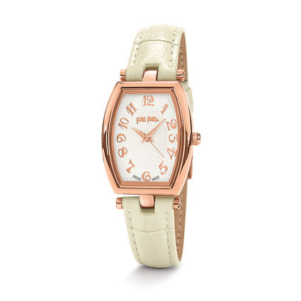 Debutant Bliss Swiss Made Leather Watch, Beige, hires