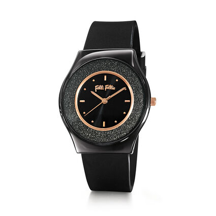 Sparkling Sand Ceramic Case Rubber Watch, Black, hires