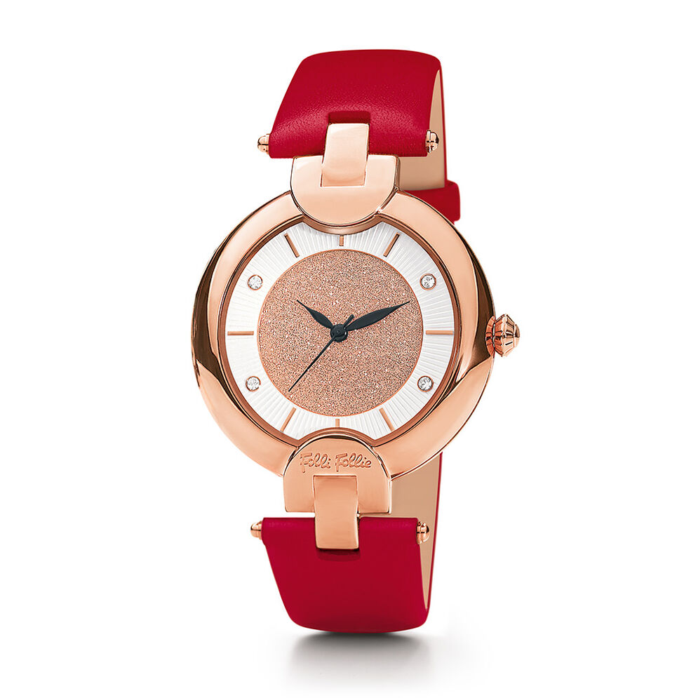 Sand Reflections Medium Case Leather Strap Watch, Red, hires