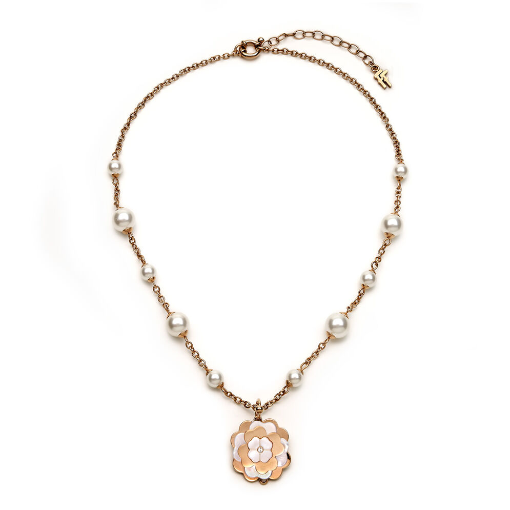 Santorini Flower Rose Gold Plated White Mother of Pearl Details & White Pearls Short Necklace , , hires