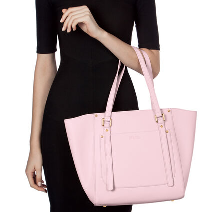 Fleur Riviera Tote Leather Shoulderbag, Pink, hires