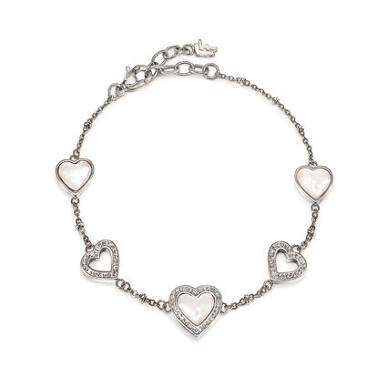 Playful Hearts Silver Plated Mother Of Pearl Bracelet, , hires