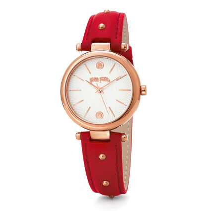 Cyclos Rocks Medium Case Leather Watch , Red, hires