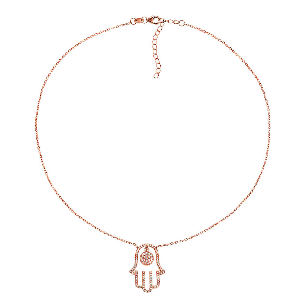 Fashionably Silver Luck Rose Gold Plated Κοντό Κολιέ , , hires