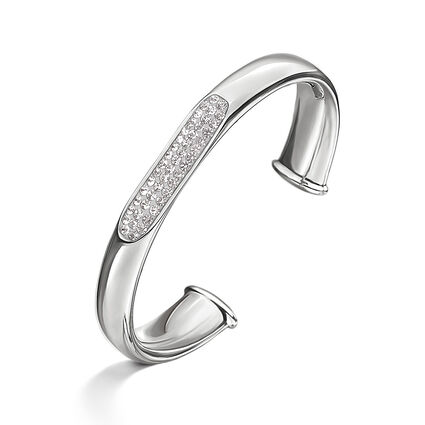 Awe Silver Plated Clear Crystal Stone Cuff Bracelet, , hires