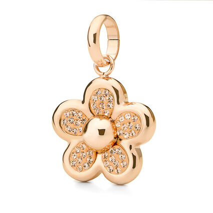 Follie Di Fiori Rose Gold Plated Pave Champaign Crystal Stone Small Pendant, , hires